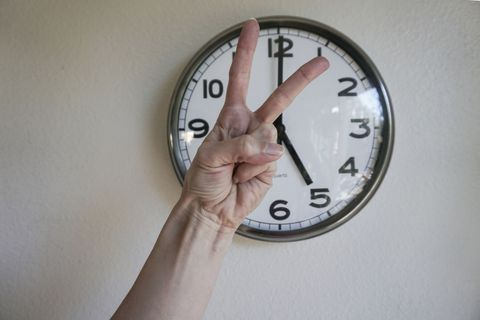 Clock, Wall clock, Home accessories, Wall, Number, Finger, Hand, Interior design, Circle, Furniture,
