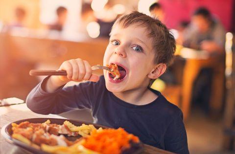 Child eating dinner