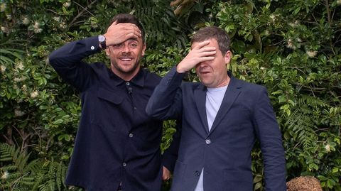 Ant and Dec on I'm a Celebrity looking shocked/can't look