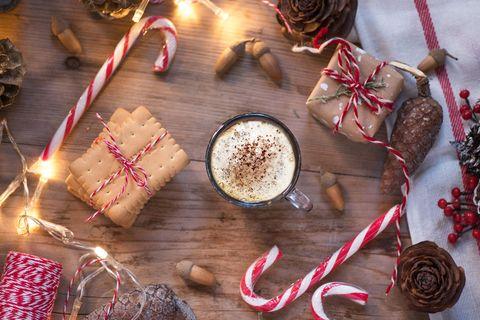 Food, Candy cane, Christmas, Cinnamon, Confectionery, Cinnamon stick, Cuisine, Eggnog, Holiday, Snack,