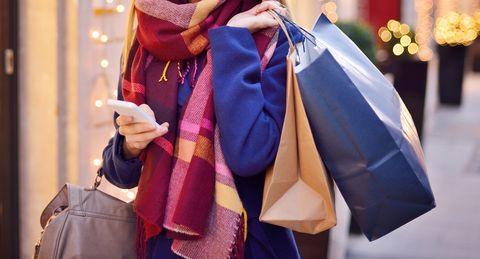 Woman shopping winter
