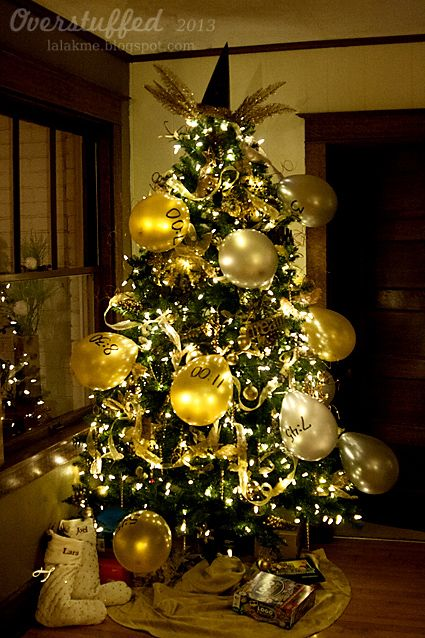 """<p>This tree is all about the countdown.&nbsp;You'll find celebratory accessories like glasses and party hats inscribed with the upcoming year, and large balloons on this glitzy statement tree.</p><p><em data-redactor-tag=""""em""""><a href=""""http://www.overstuffedlife.com/2013/12/what-are-you-doin-new-years-new-years.html"""" target=""""_blank"""" data-tracking-id=""""recirc-text-link"""" data-href=""""http://www.overstuffedlife.com/2013/12/what-are-you-doin-new-years-new-years.html"""">Get the tutorial from Overstuffed »</a></em></p>"""