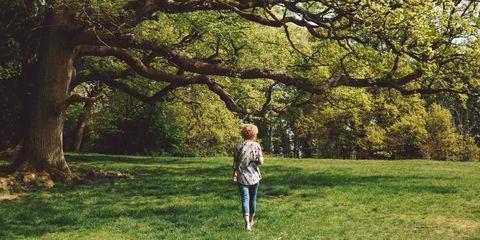 woman walking nature