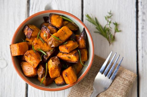 "<p>Costing around £1 per kilogram, this ingredient is both affordable and versatile. Try switching your normal spuds for sweet potatoes to give meals a nutritional boost.</p><p>'Sweet potato contains a massive 65% of the minimum necessary daily amount of vitamin C, while also having a very low glycaemic index,' says Frida. </p><p>'The potatoes are rich in dietary fibre, which helps to reduce blood sugar and insulin spikes, ultimately <a href=""http://www.prima.co.uk/diet-and-health/diet-plans/news/a41062/losing-belly-stomach-fat-mistakes/"" data-tracking-id=""recirc-text-link"">reducing belly fat</a>. The best way to benefit from sweet potatoes is to keep the skin on, as it possesses healing potential with its high levels of vitamin A, beta-carotene, and high potassium content.'</p><p><span><strong data-redactor-tag=""strong"" data-verified=""redactor"">Try:</strong> </span><a href=""http://www.prima.co.uk/all-recipes/healthy-recipes/news/a16840/shepherds-pie/"">Sweet potato shepherd's pie</a></p>"