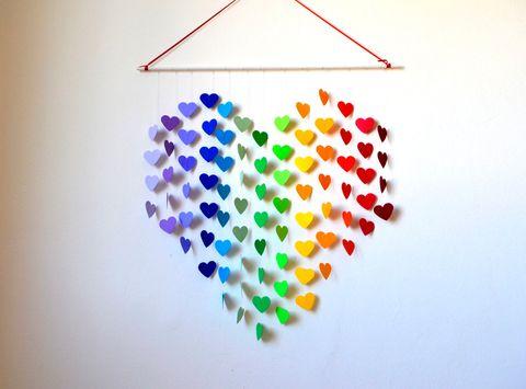Homemade heart garland Valentine's Day