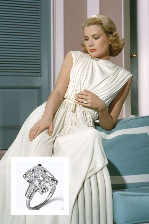 <p>Prince Rainier III of Monaco proposed to Kelly with a gorgeous 10.47 carat emerald-cut diamond by Cartier. The ring featured two baguette diamonds on each side. The couple wed in a fairytale wedding in 1956.&nbsp;</p>