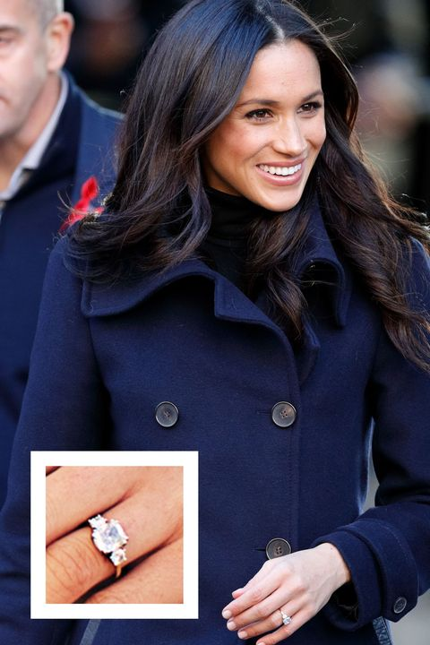 """<p>Prince Harry gave <a href=""""http://www.prima.co.uk/fashion-and-beauty/fashion-tips/news/a42602/meghan-markle-tartan-coat-scotland/"""" target=""""_blank"""" data-tracking-id=""""recirc-text-link"""">Markle</a> this stunning engagement ring<span class=""""redactor-unlink"""" data-verified=""""redactor"""" data-redactor-tag=""""span"""" data-redactor-class=""""redactor-unlink""""> in November 2017.</span> The ring features a 3-carat cushion cut center stone with two side diamonds that are approximately 0.5 ct to 0.75 ct. The side diamonds belonged to Harry's mother, Princess Diana.</p>"""