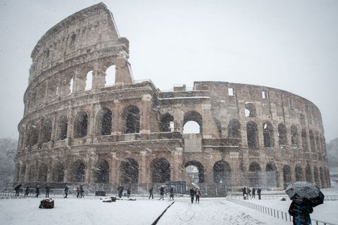 Colosseum in the snow Rome Italy