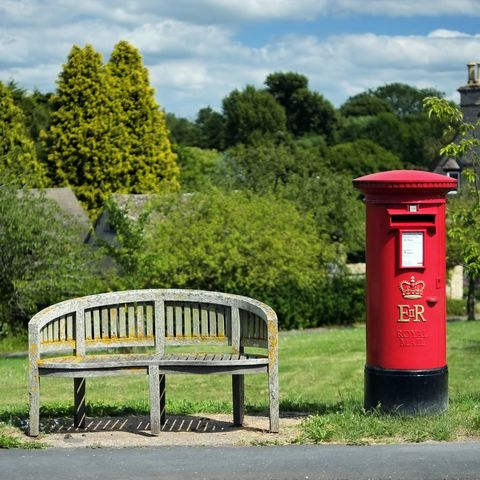 Post box, Tree, Public space, Outdoor bench, Mailbox, Outdoor furniture, Shrub, Bench, Garden, Park,