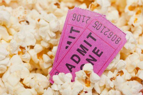 Cinema tickets in popcorn