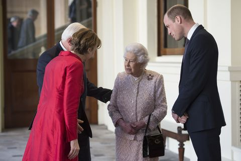 "<p>You may notice that the Queen is never without a handbag, and that's because she <a href=""http://www.prima.co.uk/leisure/celebrity/news/a37894/inside-queen-elizabeths-purse/"" target=""_blank"" data-tracking-id=""recirc-text-link"">uses it to send signals</a>. For example, when she wants to leave dinner, simply setting her bag on top of the table lets her aides know that the party is ending shortly and that she wants to leave. </p><p>Also, when she's in conversation and switches her purse to her other hand, it means that she would like to politely wrap it up. 'It would be very worrying if you were talking to the Queen and saw the handbag move from one hand to the other,'&nbsp;royal historian Hugo Vickers told <a href=""http://people.com/celebrity/how-to-tell-when-the-queen-is-over-you/""><em data-redactor-tag=""em"">People.</em></a><span data-redactor-tag=""span""></span></p>"