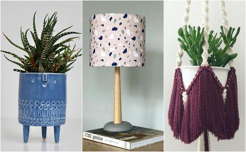 Blue, Flowerpot, Leaf, Purple, Terrestrial plant, Interior design, Violet, Teal, Lavender, Natural material,