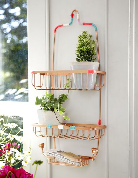 "<strong>Solution: A shower caddy.</strong> Seriously! We love this tip from<em> <a href=""https://wordery.com/pretty-and-organized-jane-hughes-9781770854789"">Pretty &amp; Organized</a></em>: With a quick coat of spray paint and some colorful string, a caddy becomes a do-it-all kitchen item. Place potted herbs or ripening fruits in it, or the vinegars and oils you reach for all the time."