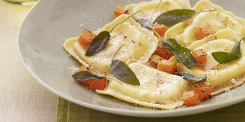 ravioli with squash and sage in bowl