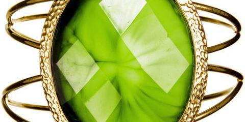 wire cuff bracelet with green gem