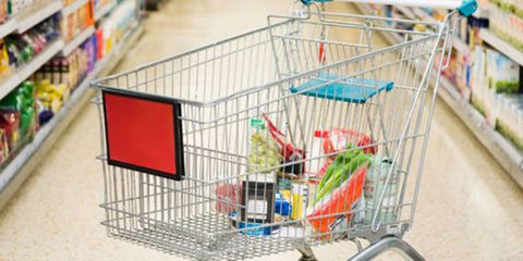 grocery cart in supermarket