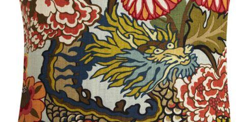 Schumacher Chiang Mai Dragon fabric pillow