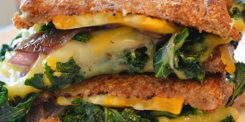 Grilled Cheese with Kale and Carmalized Onions
