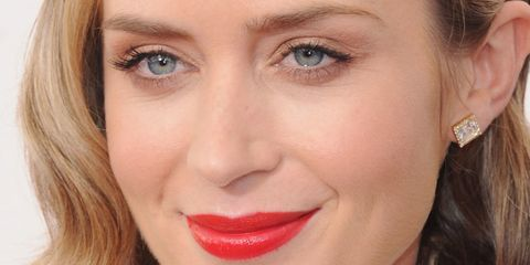 emily blunt with a bob and bright lipstick
