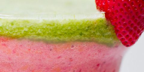 pink gold and green layered smoothie