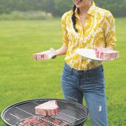 Barbecue grill, Denim, Jeans, People in nature, Food, Barbecue, Cooking, Cuisine, Outdoor grill, Outdoor grill rack & topper,
