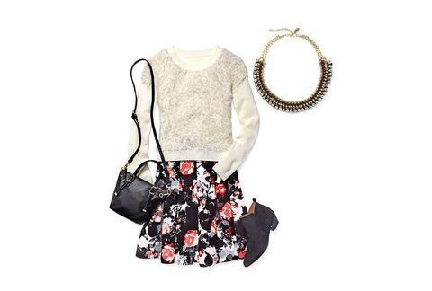 "Rugged booties, a snuggly sweater, and a flirty floral skirt make for a cool (and cozy) mix.   Necklace, $58; <a href=""http://www.zadwholesalejewelry.com/zadretail/Gold-Black-and-Crystal-Necklace.html"" target=""_blank"">zadretail.com</a>. Sweater, I Heart Ronson, $55; <a href=""http://www.jcpenney.com/women/contemporary-collections/i-heart-ronson-long-sleeve-fuzzy-ribbed-sweater/prod.jump?ppId=pp5004680660&amp;catId=cat1003130010&amp;deptId=dept20000013&amp;&amp;_dyncharset=UTF-8&amp;colorizedImg=DP0929201417224825M.tif"" target=""_blank"">jcpenney.com</a>. Skirt, 424 Fifth, $99; <a href=""http://www.lordandtaylor.com/"" target=""_blank"">lordandtaylor.com</a>. Bag, $62; <a href=""http://www.oliviaandjoy.com/"" target=""_blank"">oliviaandjoy.com</a> (20% off with code REDBOOK20). Booties, $199; <a href=""http://www.ninashoes.com/"" target=""_blank"">ninashoes.com</a>."