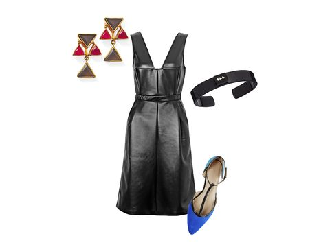 "The beauty of this dress: The demure A-line shape balances the sexiness of the faux-leather material and a plunging neckline. With flats, this outfit is gonna let you dominate on the dance floor.   Earrings, $90; <a href=""http://www.shopkanupriya.com/Fifth-Avenue-Drop-Earrings-p/e25123.htm"" target=""_blank"">shopkanupriya.com</a>. Dress, $198; <a href=""http://usa.frenchconnection.com/product/woman+Collections+dresses/71CRR/Wild+Ashes+Textured+Dress.htm"" target=""_blank"">frenchconnection.com</a>. Bracelet, $50; <a href=""http://neelyphelan.com/shop/black-rhinestone-cuff/"" target=""_blank"">neelyphelan.com</a> (20% off with code REDBOOK20). Flats, $39.95; <a href=""http://www.justfab.com/"" target=""_blank"">justfab.com</a>."