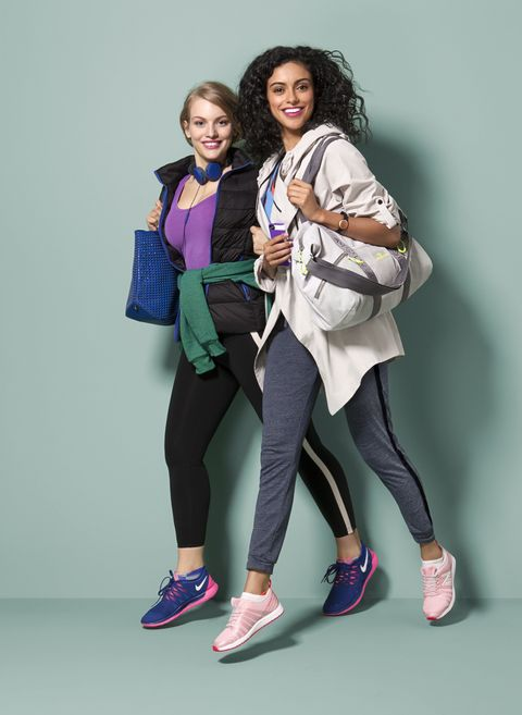 "Urbanears x Marc by Marc Jacobs headphones, $60; <a href=""http://www.urbanears.com/"" target=""_blank"">urbanears.com</a>. Fabletics jacket, $59.95; <a href=""http://www.fabletics.com/"" target=""_blank"">fabletics.com</a>. Old Navy T-shirt, $22.92; <a href=""http://www.oldnavy.com/"" target=""_blank"">oldnavy.com</a>. American Apparel hoodie, $48; <a href=""http://store.americanapparel.net/unisex-flex-fleece-zip-hoodie_f497w"" target=""_blank"">americanapparel.com</a>. Hudson + Bleecker tote, $98; <a href=""http://www.hudsonandbleecker.com/collections/tote-bags/products/tote-bag-atlas-blue"" target=""_blank"">hudsonandbleecker.com</a>. Athleta leggings, $79; <a href=""http://athleta.gap.com/browse/product.do?cid=97456&amp;vid=1&amp;pid=243131002"" target=""_blank"">athleta.com</a>. No Nonsense socks, $6.49 for pack of 3; <a href=""http://www.nononsense.com/"" target=""_blank"">nononsense.com</a>. Nike sneakers, $85; <a href=""http://www.zappos.com/"" target=""_blank"">zappos.com</a>. Simply Vera Vera Wang anorak, $98; <a href=""http://www.kohls.com/"" target=""_blank"">kohls.com</a>. Oakley bra, $45; <a href=""http://www.oakley.com/"" target=""_blank"">oakley.com</a>. Adidas tank, $45; <a href=""http://www.adidas.com/"" target=""_blank"">adidas.com</a>. Incipio iPhone case, $34.99; <a href=""http://www.incipio.com/"" target=""_blank"">incipio.com</a>. Misfit fitness tracker, $99.99; <a href=""http://store.misfit.com/products/premiumbundle"" target=""_blank"">misfitwearables.com</a>. Live, Love, Dream gym bag, $25; <a href=""http://www.aeropostale.com/"" target=""_blank"">aeropostale.com</a>. Alternative Apparel joggers, $52; <a href=""http://www.alternativeapparel.com/jogger-pants"" target=""_blank"">alternativeapparel.com</a>. No Nonsense socks, $6.49 for pack of 3; <a href=""http://www.nononsense.com/"" target=""_blank"">nononsense.com</a>. New Balance sneakers, $74.95; <a href=""http://www.newbalance.com/"" target=""_blank"">newbalance.com</a>."
