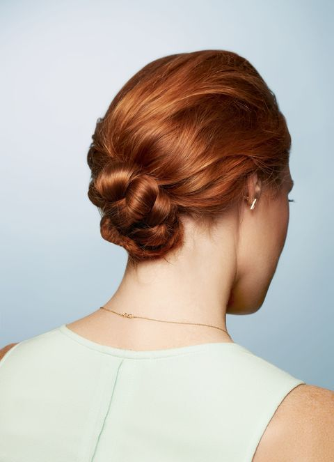 Don't fuss with trying to revive a lengthy 'do—just sweep it into this bun that looks <em>way</em> more involved than it actually is.    <strong>Step 1:</strong> Brush your hair into a low, loose ponytail; secure with an elastic.    <strong>Step 2:</strong> Braid the tail and wrap a second elastic around the end. Tug at the sides of the braid just a little to give it that wispy, fuzzy effect.    <strong>Step 3:</strong> Twirl the braid around itself, keeping it as flat against your head as possible (think cinnamon bun, not doorknob). Pin into place.