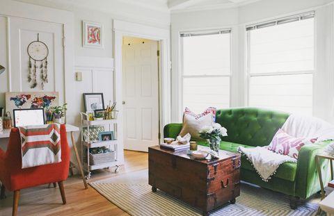 Wood, Room, Green, Interior design, Floor, Home, Furniture, Flooring, Wall, Interior design,