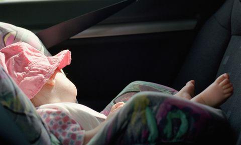 Sleeping baby in car