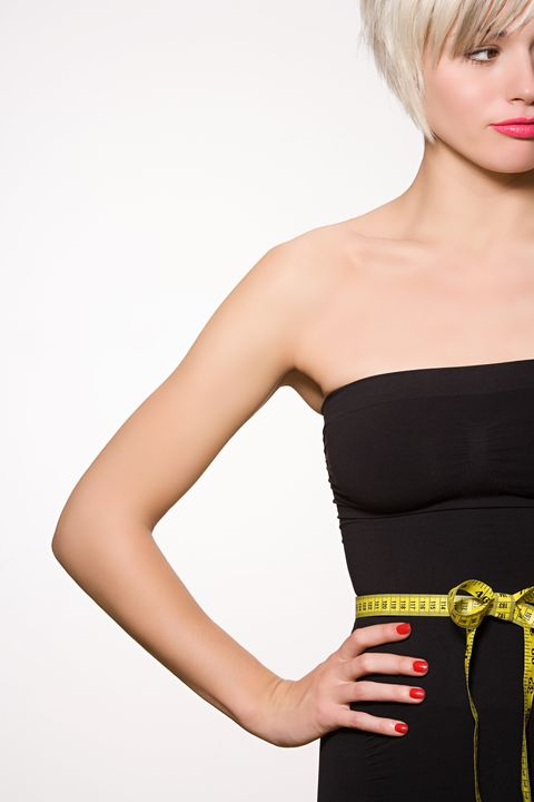 Clothing, Hairstyle, Skin, Shoulder, Strapless dress, Joint, Red, Waist, Dress, Bangs,