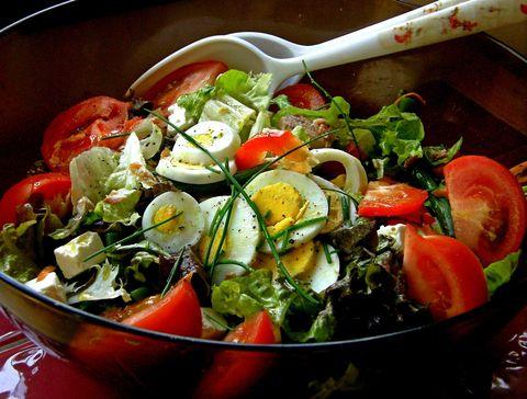 Food, Salad, Cuisine, Vegetable, Produce, Ingredient, Dish, Leaf vegetable, Garden salad, Tableware,