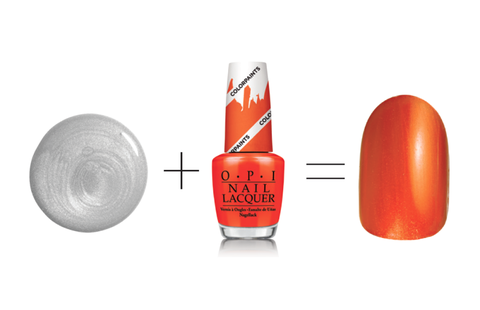 ОПИ Nail Lacquer in Silver Canvas + Chromatic Orange, $9.50 each