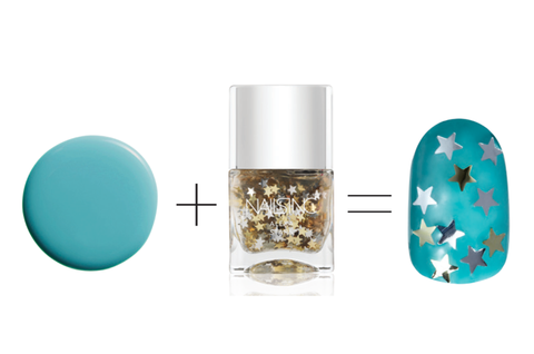 ЦоверГирл Outlast Stay Brilliant Nail Gloss in Mint Mojito, $5.49 + Nails Inc nail polish in Alexa Stars, $25