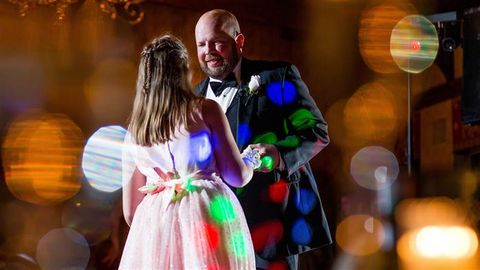 Dress, Interaction, Love, Romance, Tie, Ceremony, One-piece garment, Day dress, Cocktail dress, Gown,