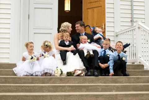 People, Dress, Child, Stairs, Door, Ceremony, Home door, Toddler, Wedding dress, Tradition,