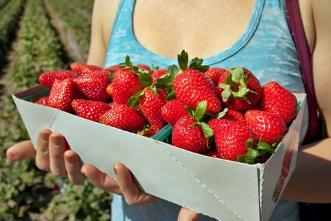 Fruit, Natural foods, Food, Produce, Strawberry, Strawberries, People in nature, Sleeveless shirt, Frutti di bosco, Sweetness,