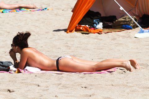Brassiere, Human leg, Sand, Tent, Swimwear, Summer, Sun tanning, Swimsuit top, Beach, Bikini,