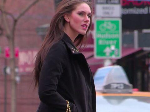 Lip, Sleeve, Jacket, Outerwear, Coat, Collar, Street fashion, Winter, Fashion, Beauty,
