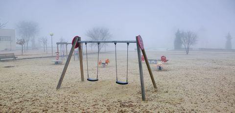 Public space, Atmospheric phenomenon, City, Ecoregion, Mist, Outdoor play equipment, Haze, Playground slide, Sand, Morning,