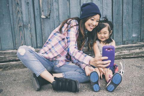 Mom and daughter talking selfie