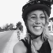 Helmet, Bicycle helmet, Bicycle clothing, Photograph, Bicycles--Equipment and supplies, White, Happy, Sports gear, Facial expression, Style,
