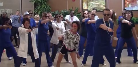 """For the last day of Sophia Petikas's therapy, staff at a Louisiana hospital did the """"Nae Nae"""" dance."""