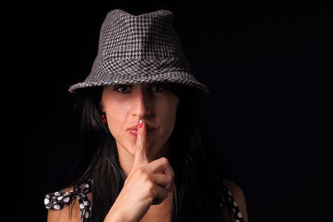 Finger, Lip, Hat, Wrist, Fashion accessory, Headgear, Costume accessory, Fashion, Nail, Black,