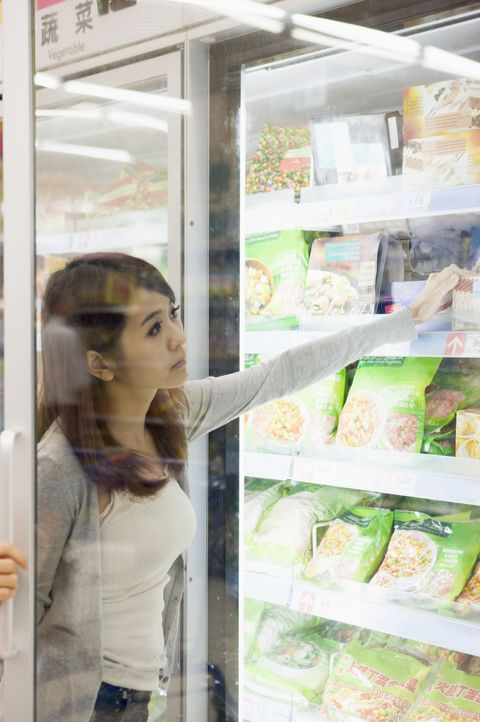 Glass, Transparent material, Display case, Long hair, Brown hair, Transparency, Frozen food,