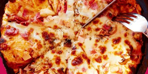 Food, Pizza, Pizza cheese, Dish, Ingredient, Cuisine, Recipe, Fast food, Baked goods, California-style pizza,
