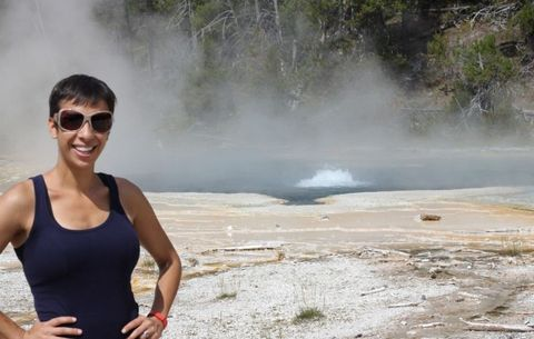 Body of water, Sunglasses, Shoulder, Sleeveless shirt, Geyser, Hot spring, Spring, Goggles, Steam, Tourism,