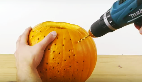 Watch What Happens When You Drill Holes Into A Pumpkin