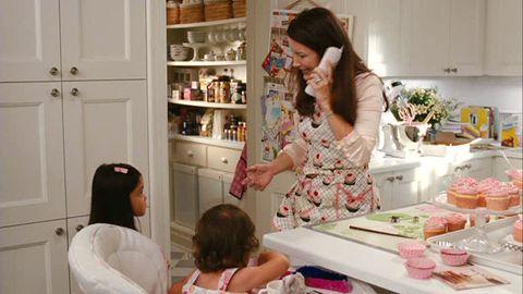 Room, Shelf, Door, Kitchen, Countertop, Shelving, Cabinetry, Major appliance, Cooking, Peach,